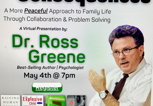 """CATCH With Districts 30, 28, 31, and 27 Will Host """"Enough with the Consequences"""" with Dr. Ross Greene on May 4"""