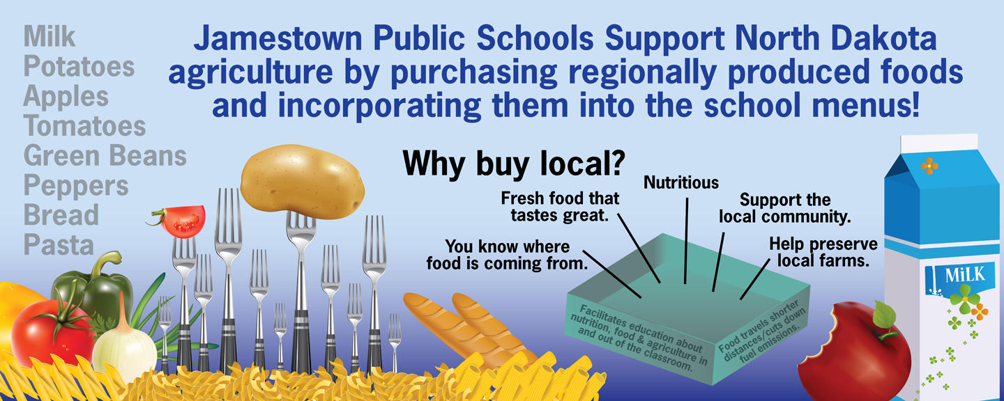 "Says ""Jamestown Public Schools supports ND agriculture by purchasing regionally produced foods and incorporating them into local school menus."" Shows fork with potato, vegetables, milk, and apple."