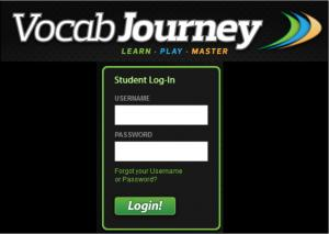 Vocab Journey login screen