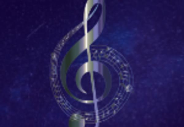 Music Treble Clef on Starry Background