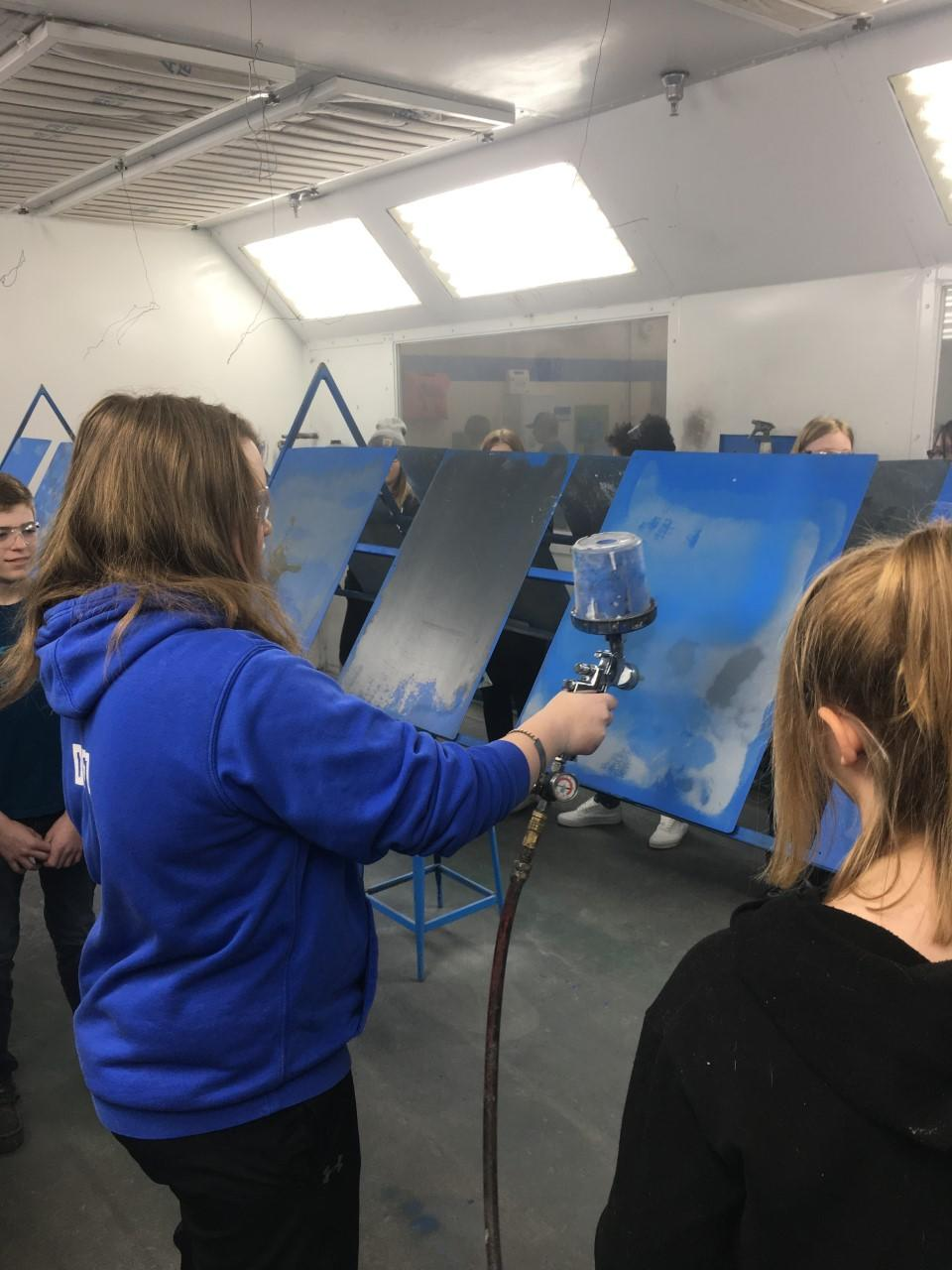8th grade tries autobody air painting