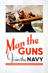 "WWII poster, says ""Man the Guns"""