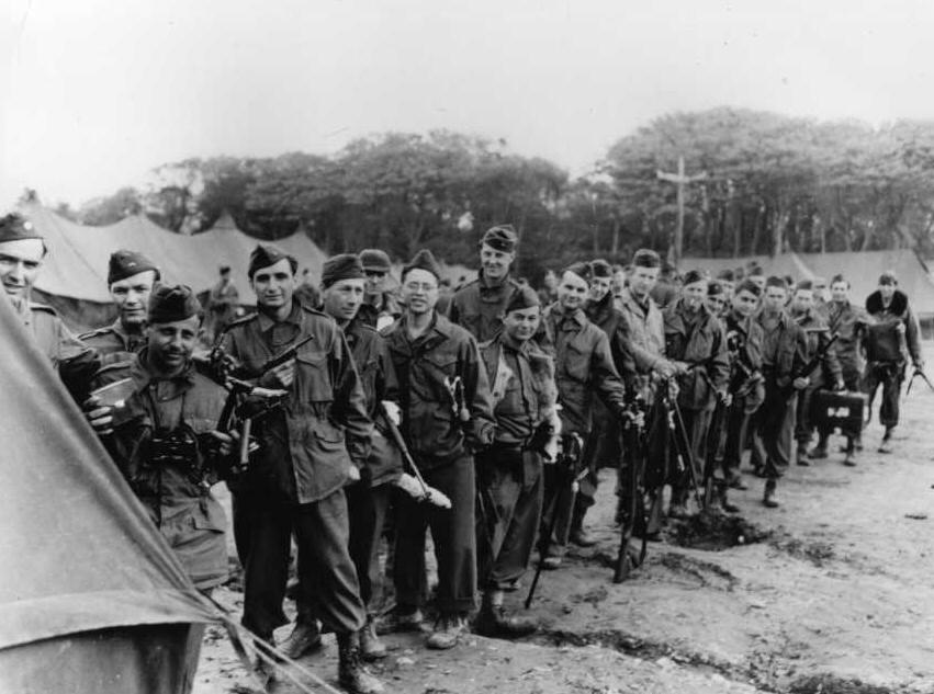 American soldiers at Camp Lucky Strike in France
