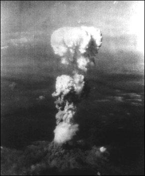 mushroom cloud taken from the tail of the  Enola Gay after dropping the bomb on Hiroshima