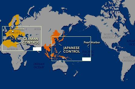 The European Theater (vs. Germany) and the Pacific Theater (vs. Japan) Map