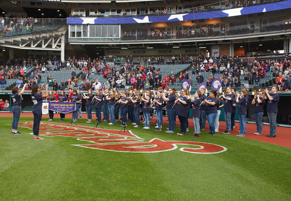 Marching Band Performs at Indians Baseball Game