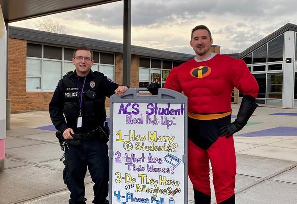 Superheroes deliver lunch