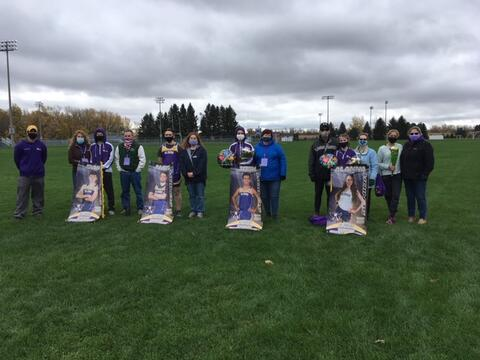 Coach Hryvniak with the Cross Country seniors