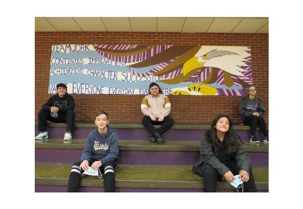 Students with mural