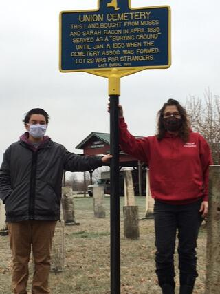 Seventh-grader Renzo Tomasi and Town of Clarendon Historian Melissa Ierlan