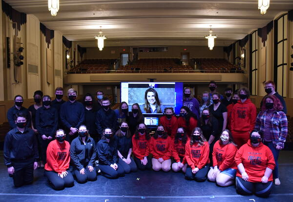 Albion's cast, crew, and pit members with Heidi Blickenstaff.