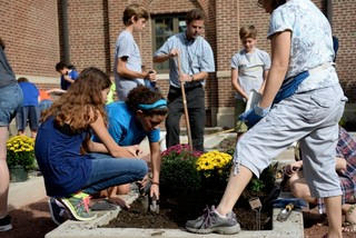 Students planting garden
