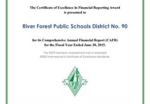 District 90 Receives Certificate of Excellence for Financial Reporting