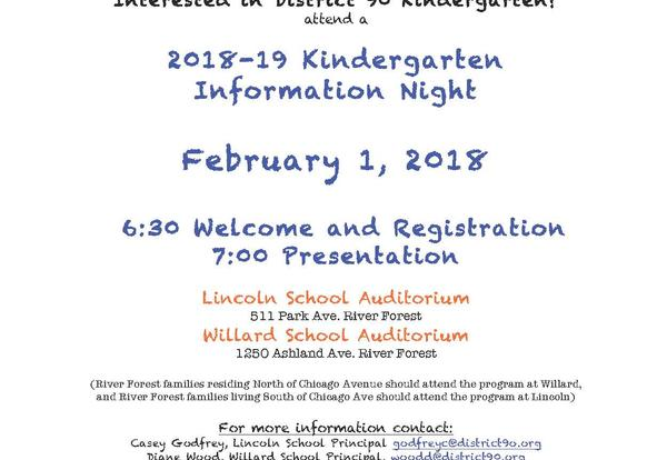 Willard and Lincoln Hold Kindergarten Registration and Information Night
