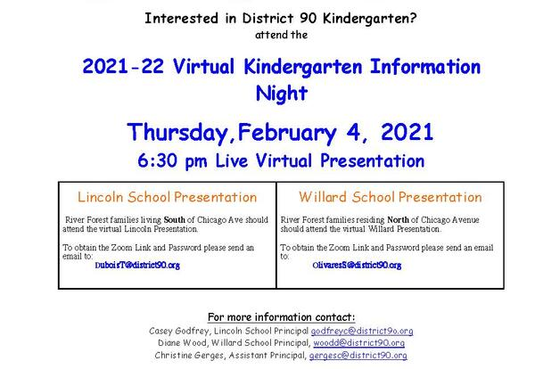 2021-22 Kindergarten Information Night