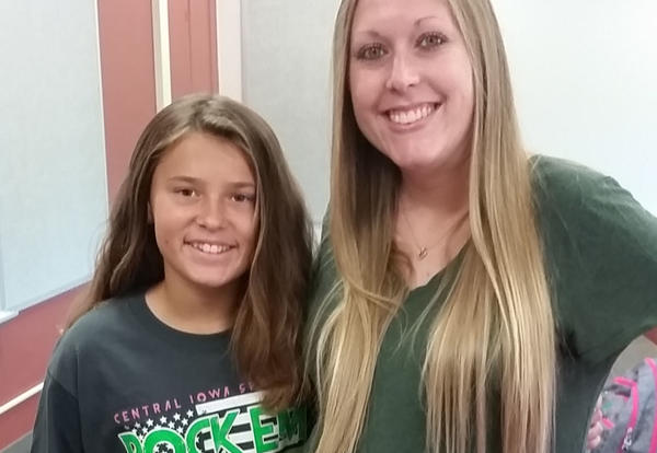 Camdyn Crouse and teacher, Breanna Hinmon
