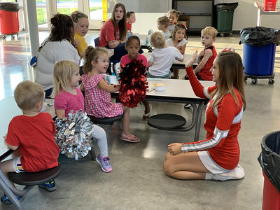 cheerleaders and students